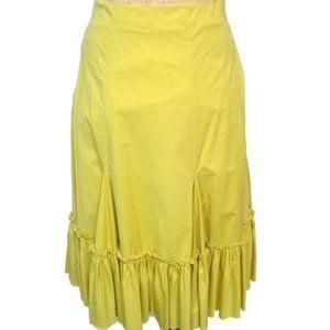 Anthropologie FEI Gold Full Cotton Skirt 8